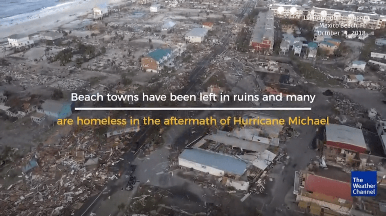 Weather Channel Video Footage of Hurricane Michael Disaster